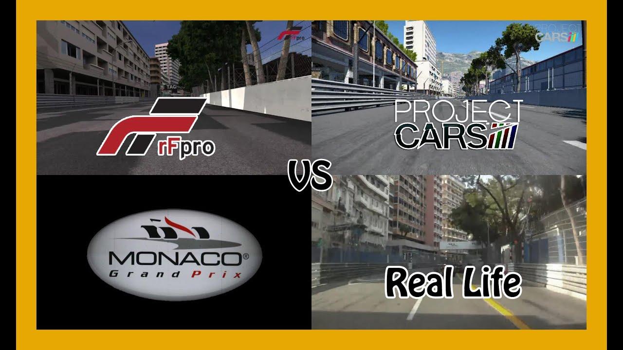 rFactor Pro vs Project Cars vs Real Life @ Monaco
