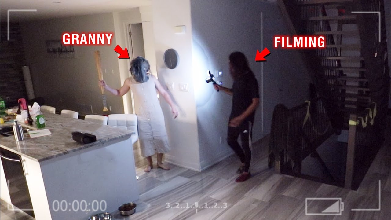 CAUGHT GRANNY ON OUR SECURITY CAMERAS AT 3 AM!! *SHE ALMOST GOT US*