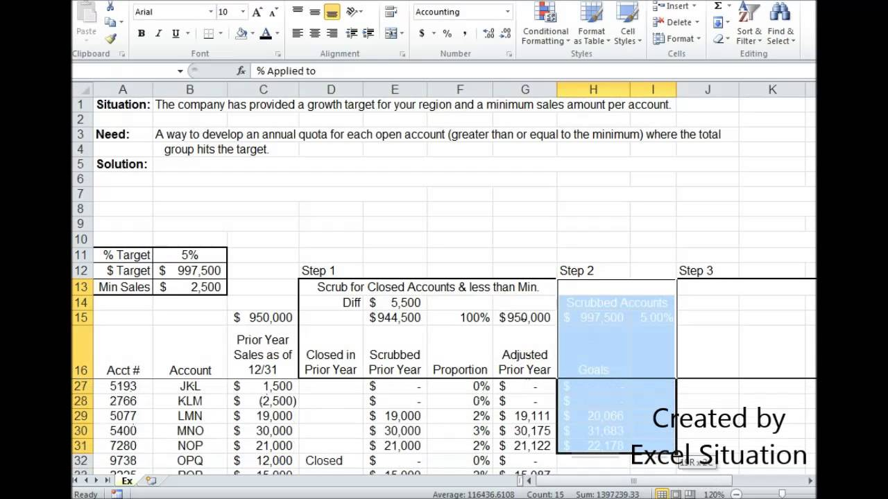 excel setting sales quota  goal  objective