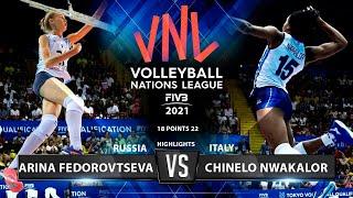 Monsters of The Vertical Jump-Arina Fedorovtseva vs Chinelo Nwakalor   Russia vs Italy   VNL 2021 ᴴᴰ