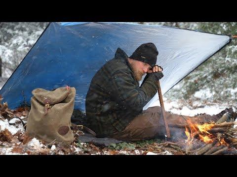 Cold Weather Camp Setup: Survival Shelter, Fire, Debris Bed