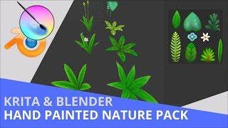Krita & Blender - Hand Painted Cartoon Stylized Nature Pack 1