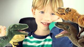3 Jurassic World Velociraptors and Tyrannosaurus Rex fight - Bowie