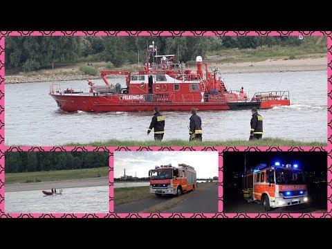 ALARM zur WASSERRETTUNG - [Hund & Person im Rhein] - Wasserrettungszug der Feuerwehr im Einsatz [E]