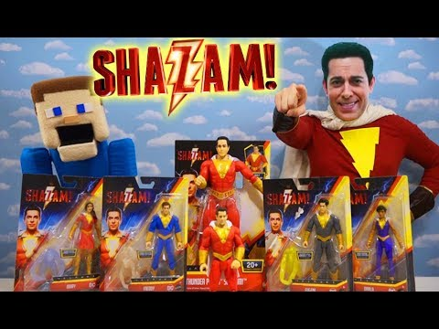 Shazam In Real Life Unboxing Movie Toys and Figures with Puppet Steve