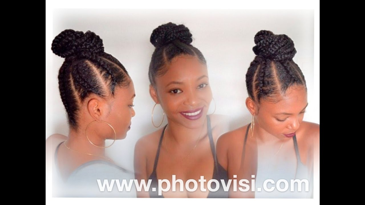 DIY PONYTAIL WITH 6 CORNROWS YouTube
