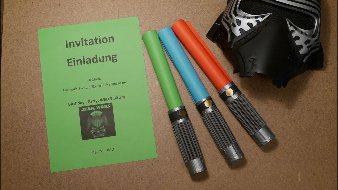 star wars lichtschwert-einladung kindergeburtstag party invitation, Einladung