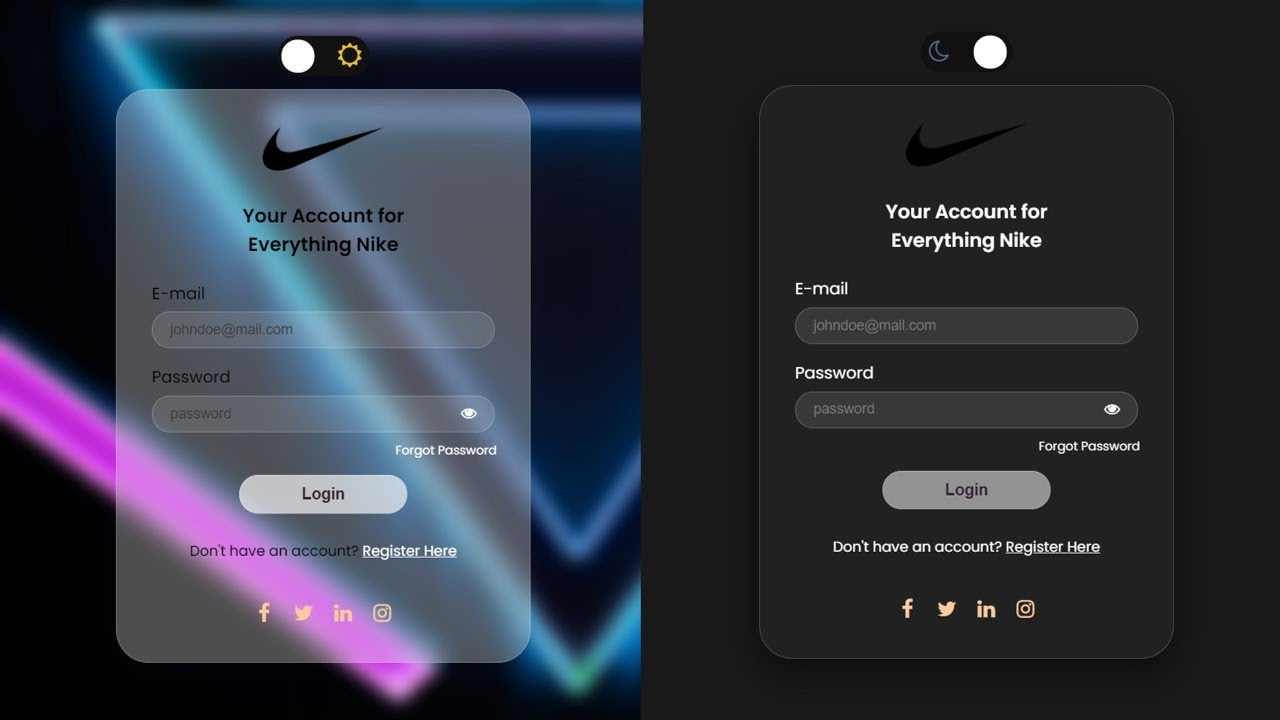 How to make a login page using Glassmorphism (DARK mode / Light Mode)  in HTML and CSS