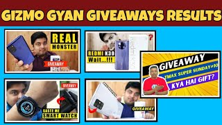 #GoveawayResults Gizmo Gyan Samsung M21, A71 , Redmi K30 Results , TmaxTechnical Giveaway more
