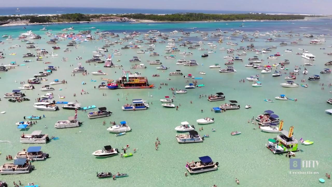 Crab Island - Destin, Florida (July 4th) - 4K - YouTube