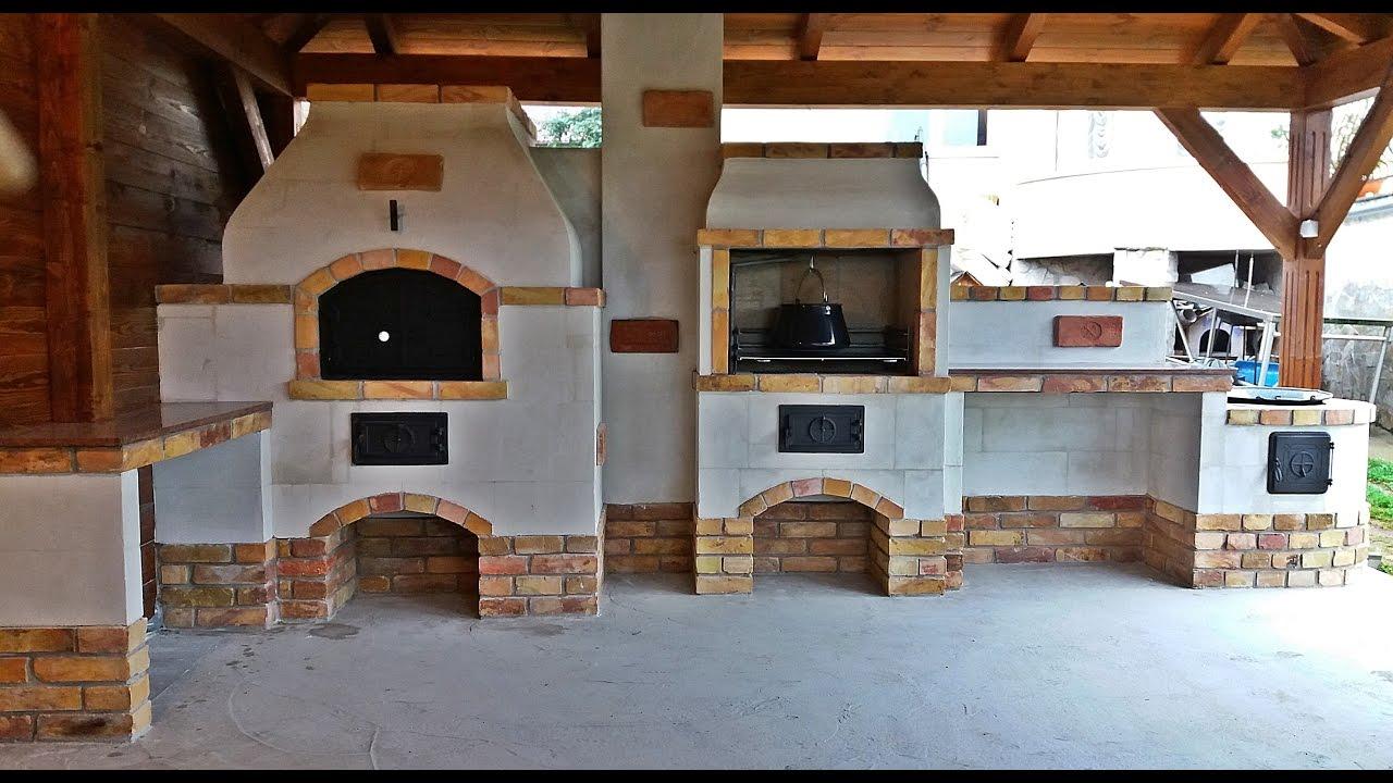Kerti konyha építés kemencével, üstházzal - YouTube