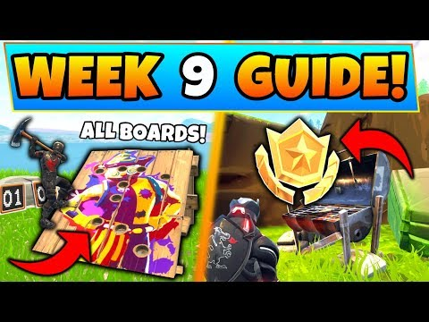 Fortnite WEEK 9 CHALLENGES GUIDE! - CARNIVAL CLOWN Boards & Secret Star (Battle Royale Season 6)