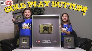 Unboxing PLAY BUTTONS! YouTube GOLD PLAY BUTTON is HERE!