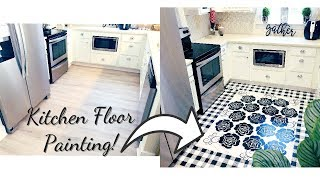 RENTER FRIENDLY KITCHEN FLOOR DIY ON A BUDGET - INEXPENSIVE HOME DECOR IDEAS!