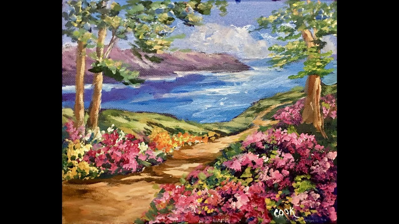 Paint A Quick Landscape With Azaleas And Lake For