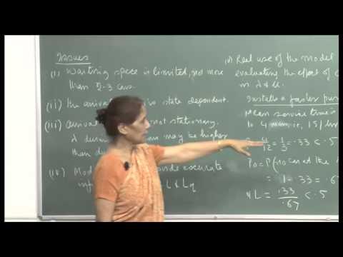 Mod-01 Lec-35 Analysis of L, Lq ,W and Wq , M/M/S model