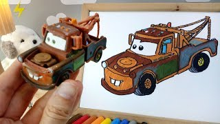How to draw CARS 3 - Mater | Easy step-by-step for kids | Art colors