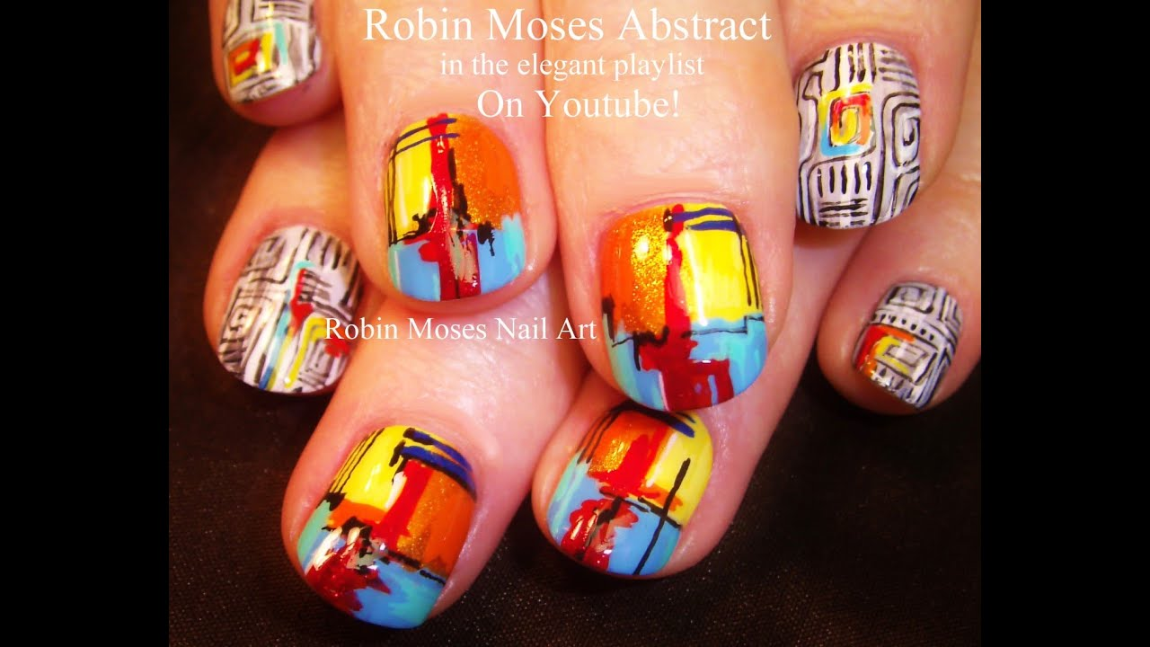 Diy Rainbow Nails Geometric Abstract Fine Art Nail Design Youtube