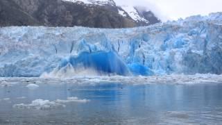 incredible glacier calving in alaska
