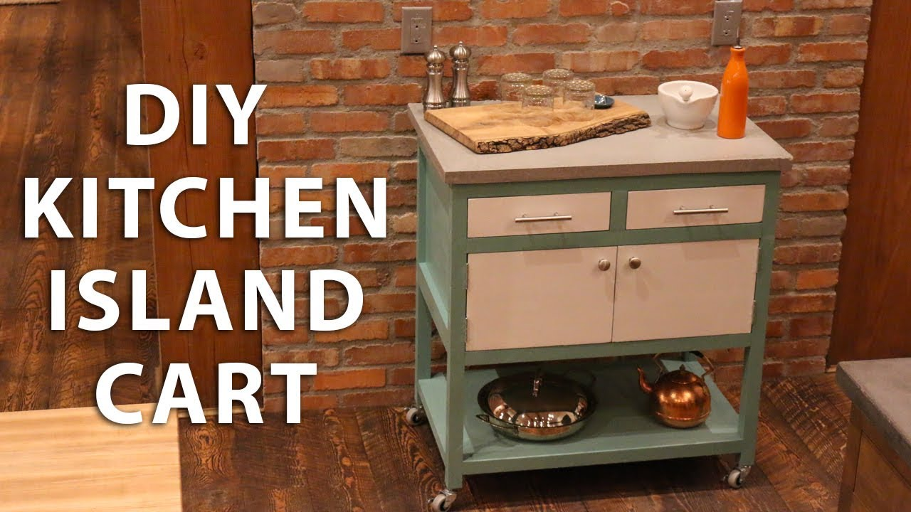 DIY Kitchen Island Cart with a Concrete Top - YouTube