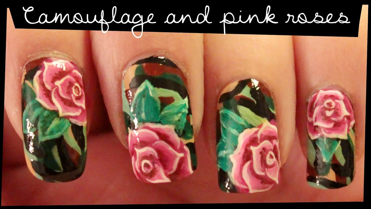 Camouflage & Pink Roses nail art - YouTube