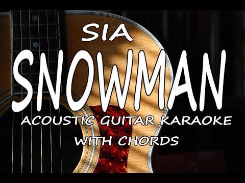 Sia - Snowman (Acoustic Guitar Karaoke + Chords)