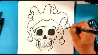 How to Draw COOL Skull Joker Jester Drawing - Draw Tattoo Art - Drawing Step by Step for Beginners