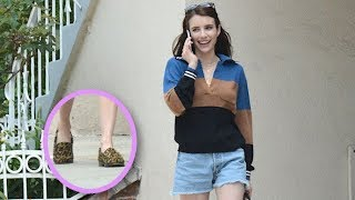 Emma Roberts Shows Off Her Legs While Sporting Tiny Denim Shorts