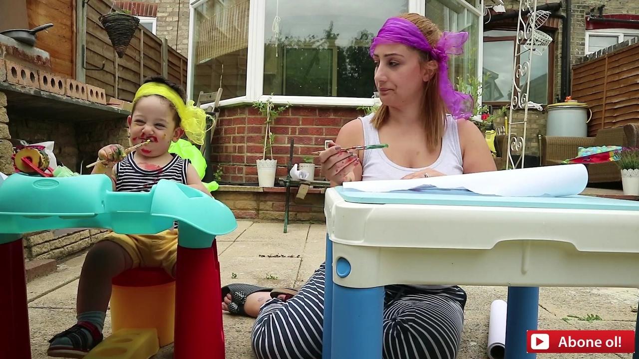 çocukla Gözü Kapali Eğlenceli Resim Boyama Challenge Anne Günlüğü