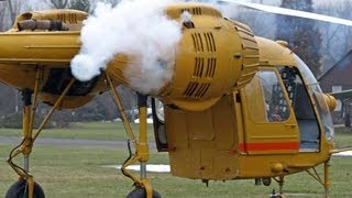 Kamov-26 helicopter - smoky and flamy cold start.