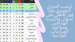 جدول ترتيب الدوري المصري بعد فوز الأهلي علي أسوان وترتيب الهدافين ومواعيد المباريات القادمة