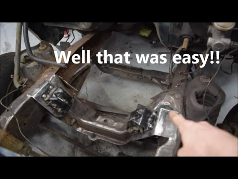 Making a small block chevy mount into a ford ranger - YouTube