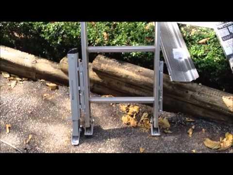 Gutter repair and cleaning feat. Werner Quick-Click ladder leg leveler