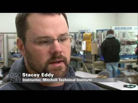 Mitchell Technical Institute students learn on Crow Lake Wind turbine