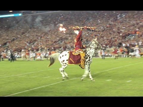 FSU Football Chief Osceola Renegade at Doak Tomahawk Chop