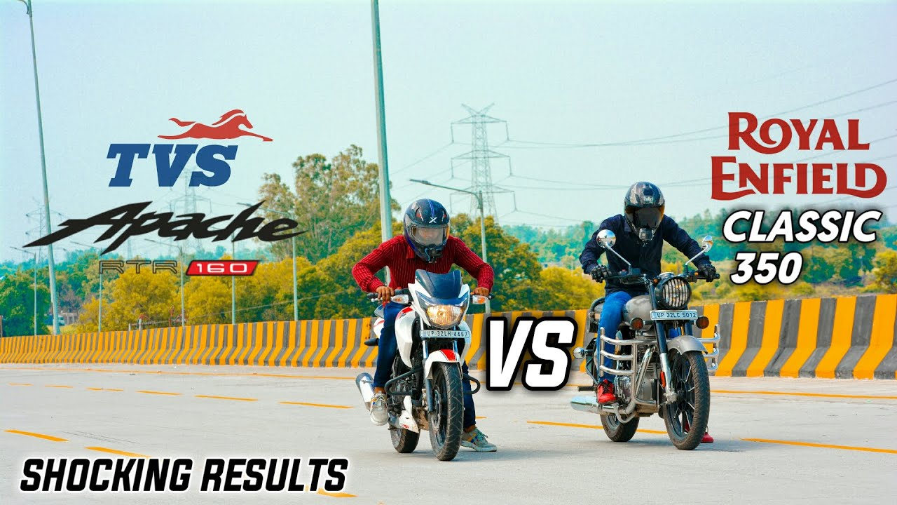 ROYAL ENFIELD CLASSIC 350 Vs APACHE RTR 160 2V | RACE TILL THEIR POTENTIAL | SHOCKING RESULTS