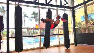 Punching bag sit ups