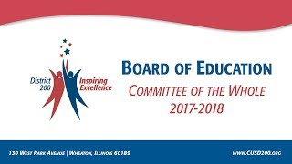 CUSD200: Board of Education Meeting: Committee of the Whole, April 25, 2018