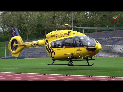 Schwerstverletzter nach Zimmerbrand – Rettungshubschrauber Landung / Start im Stadion