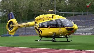 Rettungshubschrauber D-HYAC Landung / Start im Stadion - Schwerstverletzter nach Zimmerbrand