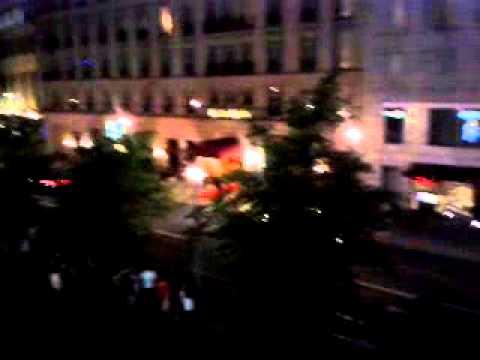 Huge convoy leaving Hotel Adlon in Berlin