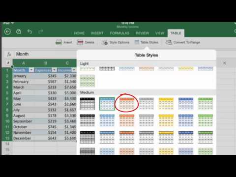HOW TO USE TABLES IN EXCEL FOR IPAD
