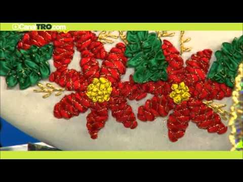 Corona de navidad bordada en cintas youtube - Cinta de navidad ...