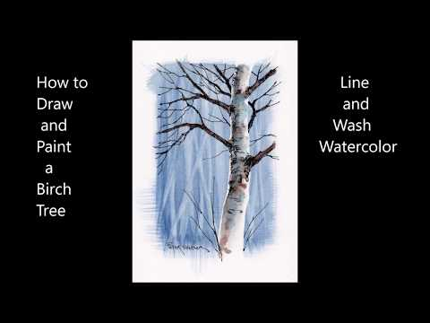 How To Draw And Paint A Birch Tree Using A Tape Mask. Line And Wash Watercolor. Peter Sheeler