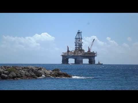 HUGE OIL RIG OFFSHORE BARBADOS!!