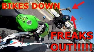 How Not To Handle A Motorcycle Crash.  HE FREAKS OUT