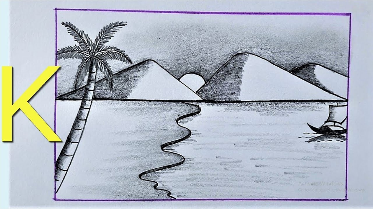 SCENERY Draw With k letter | Easy Scenery Drawing With K Letter | Pencil Sketch Scenery