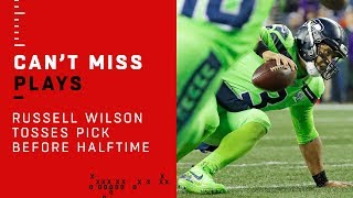 Russell Wilson's Ill-Advised INT at the Goal Line Before Halftime