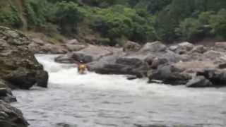 2人乗りボート【ダッキー】で保津川・小鮎の滝にチャレンジ!からの落水