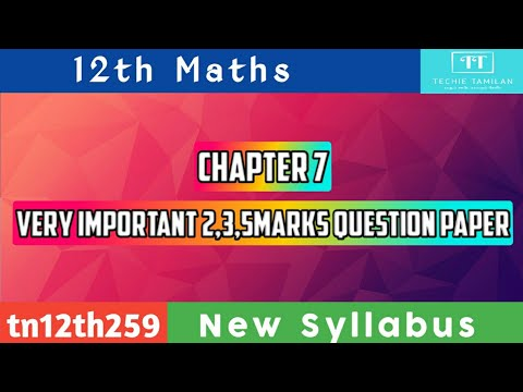 12th Maths Chapter 7 Important 2,3,5Marks Question Paper (English Medium)